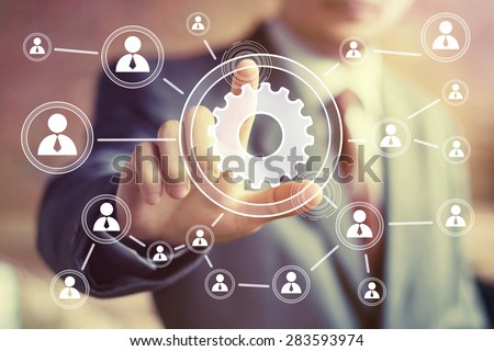 Button engineering business web communication icon - stock photo