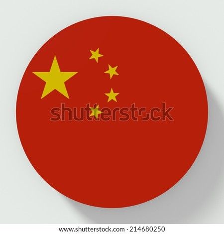 button flat design with flag of china - stock photo
