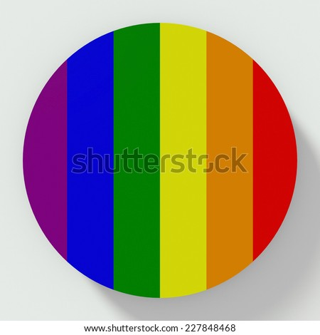 button flat design with homosexual flag - stock photo