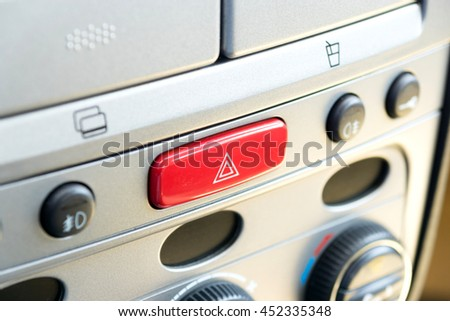 Button for hazard warning lights - stock photo