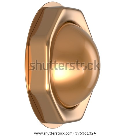 Button golden casino luck game win start turn off on action push down activate ignition power switch electric design element metallic shiny blank gold yellow luxury. 3d render isolated - stock photo