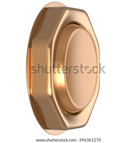 Button golden game win casino luck start turn off on action push down activate ignition power switch electric design element metallic shiny blank gold yellow luxury. 3d render isolated - stock photo