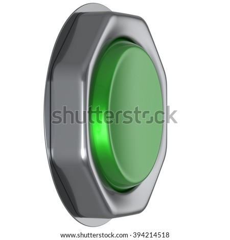 Button green push down activate positive power switch start turn on off action ignition electric design element metallic shiny blank. 3d render isolated - stock photo