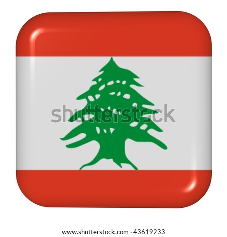 button in colors of Lebanon