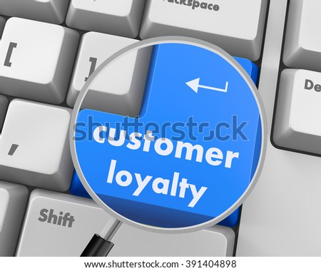 button keypad with customer loyalty word, raster - stock photo