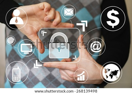 Button lock security business online sign virtual - stock photo