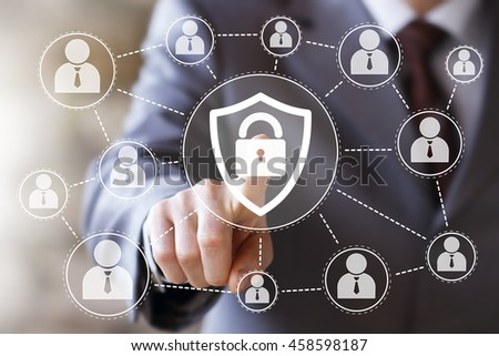 Button locked shield virus security business online network