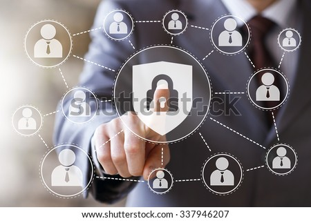 Button locked shield virus security business online web