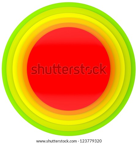 Button of colored discs. Isolated render on a white background - stock photo