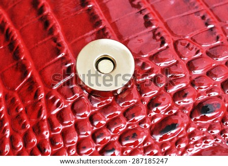 button on a leather background