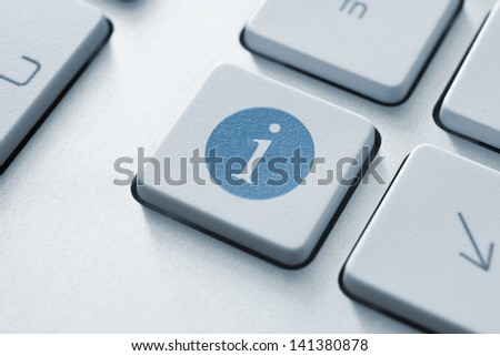 Button on a modern keyboard with information icon symbol