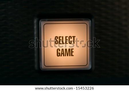 Button on slot machine  in casino - stock photo