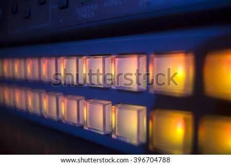 button on the control panel television and sound equipment - stock photo