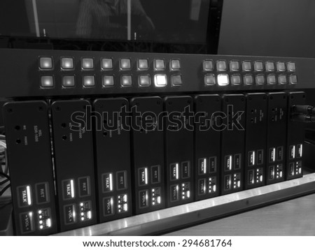 button on the control panel television equipment. black and white photo  - stock photo