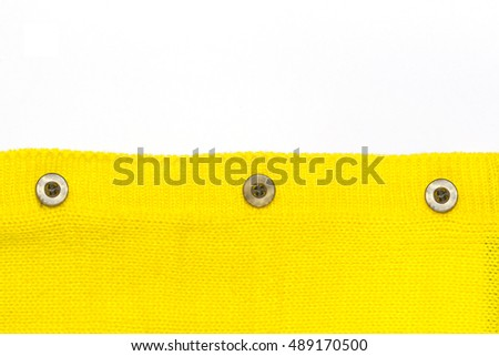 Button on the yellow jersey And a white background