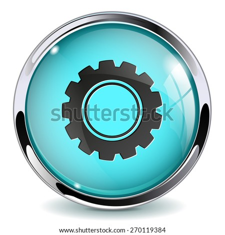 Button   Options. Glass Round web media icon with metallic frame.Isolated on white background. Raster version - stock photo