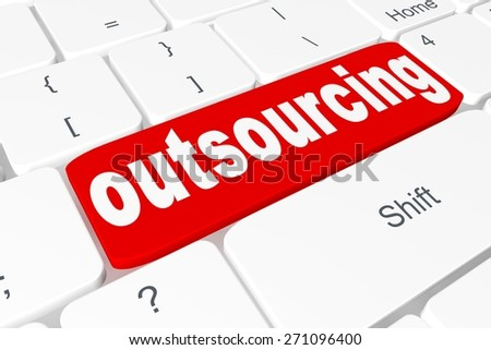 "Button ""outsourcing"" on keyboard - stock photo"