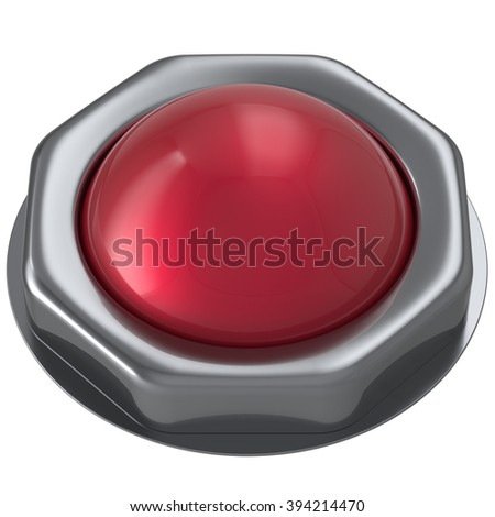 Button red start turn off on action push down activate ignition negative power switch design element metallic shiny blank. 3d render isolated - stock photo