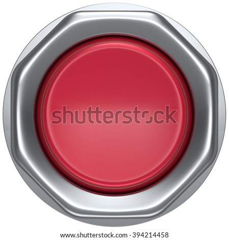 Button red start turn on off action push down activate power switch ignition electric military order design element metallic shiny blank. 3d render isolated - stock photo