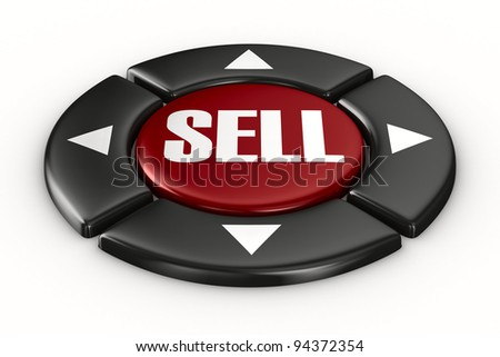 button sell on white background. Isolated 3D image - stock photo