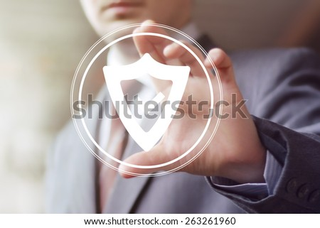 Button shield security virus business web - stock photo