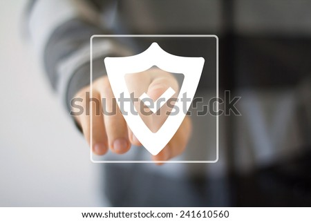 Button shield security virus icon business sign web - stock photo