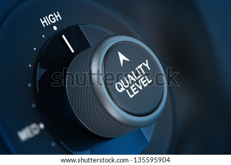Button where it is written quality level and the word high, concept of quality management. - stock photo