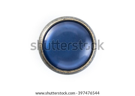 button with blue stone on a white background