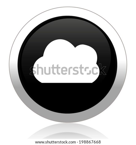 button with cloud icon - stock photo