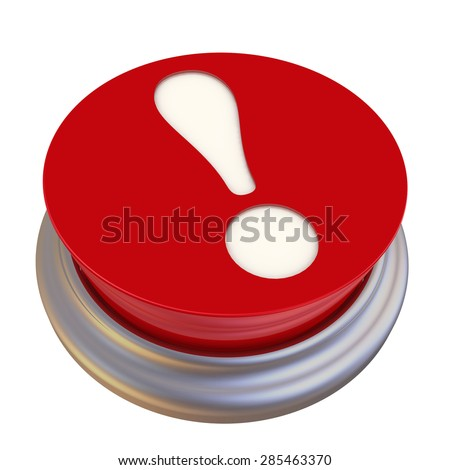 Button with exclamation mark. Button with question mark. Exclamation mark on Red button labeled on white background - stock photo