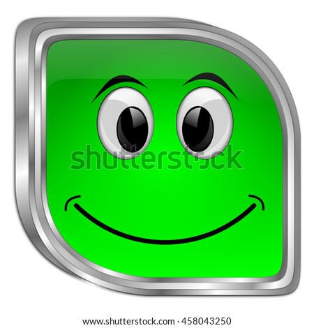 Button with smiling face - 3D illustration - stock photo