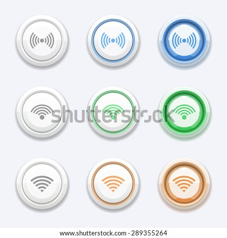 Button with wifi or wireless icon. Zone station, access broadcast, free router and hotspot - stock photo