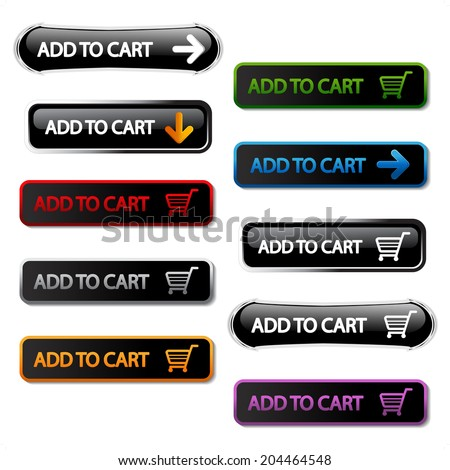 buttons - add to cart, shopping trolley - stock photo