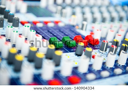 buttons equipment for sound mixer control  - stock photo