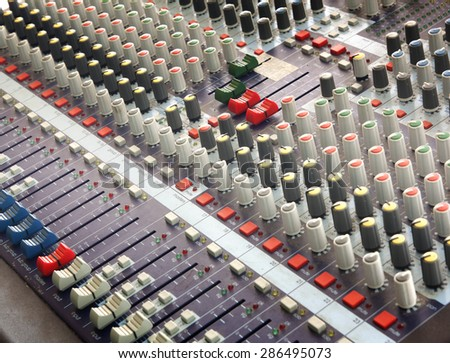 buttons equipment for sound mixer control music.
