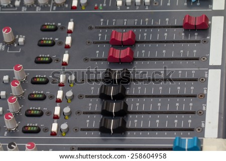 buttons equipment for sound mixer control. select focus - stock photo