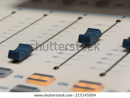buttons equipment in audio recording - stock photo