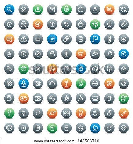 Buttons for computer, business, shopping, science, media, leisure, gambling and danger. Icons for websites and interface elements. Raster version. Vector version is also available. - stock photo