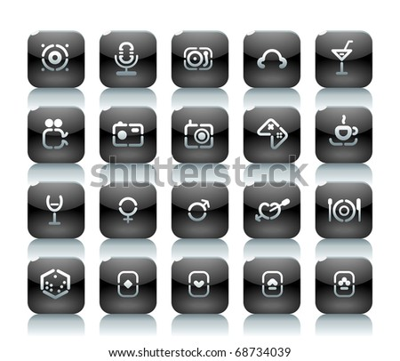 Buttons for entertainment. Icons for websites and interface elements. Raster version. Vector version is also available. - stock photo