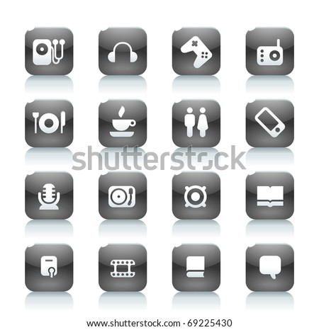 Buttons for music and leisure. Icons for websites and interface elements. Raster version. Vector version is also available. - stock photo