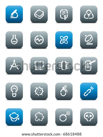 Buttons for science. Icons for websites and interface elements. Raster version. Vector version is also available. - stock photo