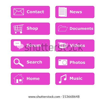 Buttons for Web page menu in pink color