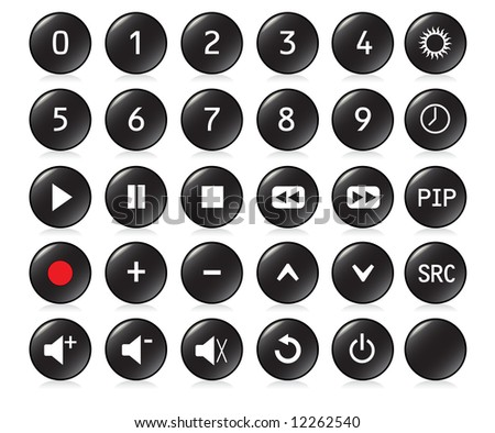 Buttons from a remote control with numbers 0,1, 2, 3, 4, 5, 6, 7, 8, 9 and other standard buttons - BLACK version. Also available as vector