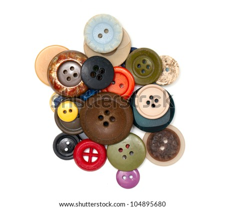 buttons of different size, shape and color isolated on white - stock photo