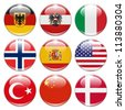 buttons of  germany, austria, italy, norway, spain, usa, turkey, china, and denmark isolated on white - stock photo