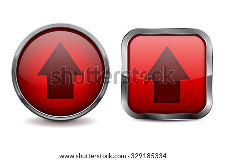 Buttons. Red shiny glass sphere and square button with metal frame. Illustration isolated on white background. Raster version.