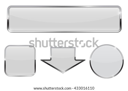 Buttons. White web icons with chrome frame. Illustration isolated on white background. Raster version - stock photo