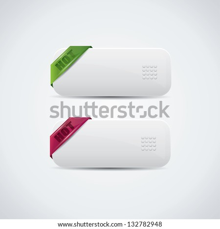 Buttons with green and purple hot labels - stock photo