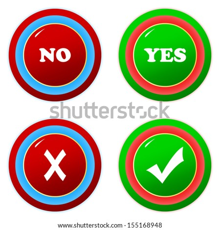 Buttons yes and no on a white background - stock photo