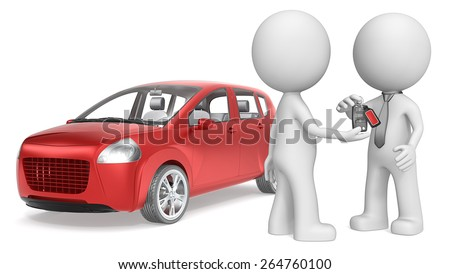 Buy a Car. The dude 3D character getting Keys to Red Car. No Branded. - stock photo